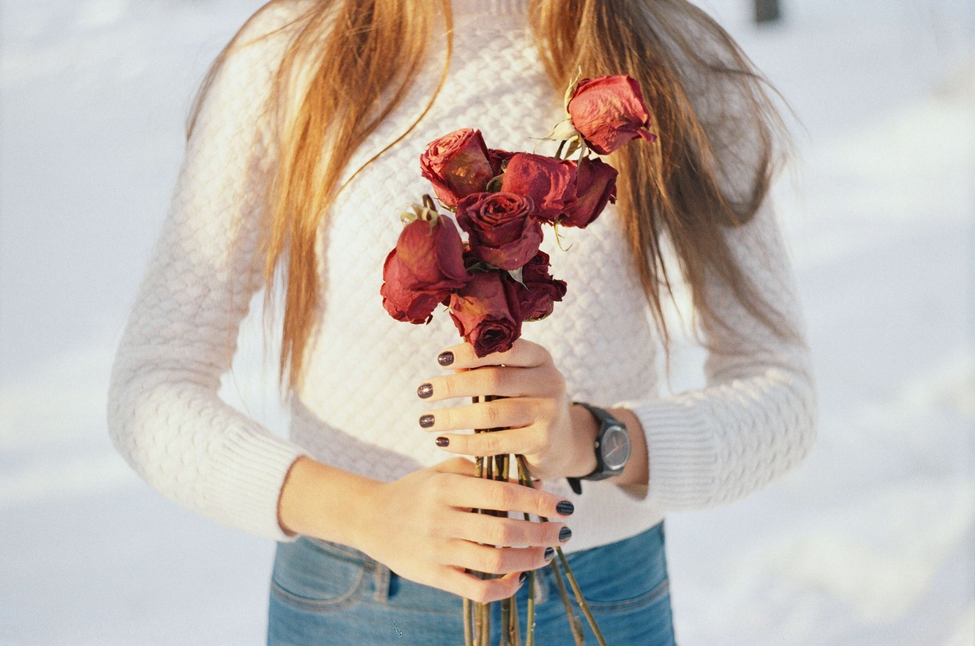 red roses and her